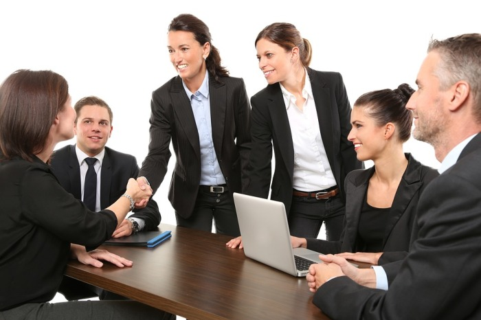 Employees Office Men Suit Business Greeting Work